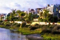 Vreedzame Oceaanstrandhuizen in Californië royalty-vrije stock fotografie