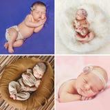 Vreedzame slaap van een pasgeboren baby, een collage van vier beelden Royalty-vrije Stock Foto's