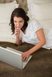 Vreedzame vrij bruine haired vrouw die laptop met behulp van Royalty-vrije Stock Foto
