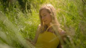 Vreedzame vrouw in de zonnige in openlucht gebruikende smartphone stock footage