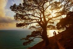 Vreedzame zonsondergang in de Zwarte Zee in de Krim Royalty-vrije Stock Afbeeldingen