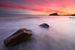 Vreedzame zonsondergang op de Middellandse Zee Royalty-vrije Stock Foto