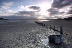 Vreedzame zonsondergang op strand in Tasmanige Royalty-vrije Stock Afbeelding