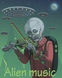 Vreemd grijs die de viool spelen stock illustratie