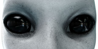 Vreemd Hoofd Sluit omhoog UFOconcept isoleer het 3d teruggeven stock illustratie