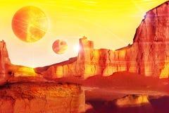 Vreemd landschap in rode tonen Fantastisch fairytaleconcept Artistiek beeld Royalty-vrije Stock Foto's