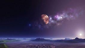Vreemd Planeet en UFO stock video