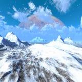 Vreemd planeetlandschap met bergen, ijs en sneeuw Stock Afbeelding