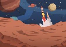 Vreemd planeetlandschap met mening bij de verre planeten en spaceships lancering Buitenaards woestijnlandschap vlak royalty-vrije illustratie