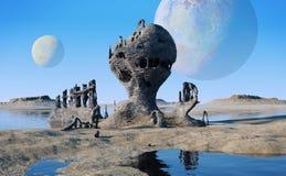 Vreemd planeetlandschap met meren en vreemde rotsvormingen Royalty-vrije Stock Afbeelding