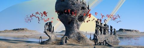 Vreemd planeetlandschap, vliegende rode schepselen die rond geheimzinnige 3d de illustratiebanner van rotsvormingen zwermen stock illustratie