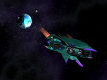 Vreemd ruimteschip in actie in de ruimte Stock Foto