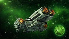 Vreemd ruimteschip in diepe ruimte met planeet en sterren op de achtergrond, UFOruimtevaartuig die in het Heelal, achterbodemmeni stock illustratie