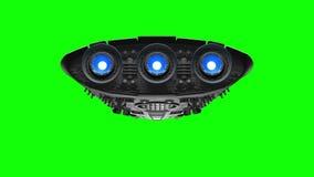 Vreemd ruimteschip op het groene scherm Heldere motoren die, 3d animatie opvlammen royalty-vrije illustratie