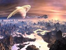 Vreemd Ruimtevaartuig boven Vijandig Terrein Stock Afbeeldingen