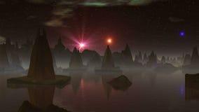 Vreemd Stad en UFO vector illustratie