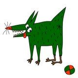 Vreemde groene hond met bal stock illustratie