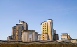 Vreemde houten gebouwen in Avoriaz, Frankrijk Royalty-vrije Stock Afbeeldingen