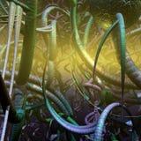 Vreemde installaties en schepselen op een onbekende planeet, 3d illustratie Stock Foto