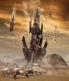 Vreemde Invasie van Kosmische ruimte ter wereld royalty-vrije illustratie
