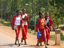 Vreemde jonge meisjes - schoolmeisjes zijn op de weg met de huisstudie in Debre Markos, Ethiopië - November 24, 2008. Stock Afbeelding