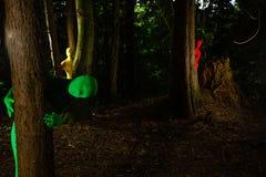 Vreemde kleurrijke mensen in het bos Stock Afbeeldingen