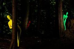 Vreemde kleurrijke mensen in het bos Royalty-vrije Stock Foto's
