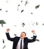 Vreemde mensen uder regen van dollars Stock Foto