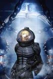 Vreemde militair in spacesuit Stock Afbeelding