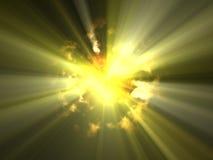Vreemde onbekende heldere zon in explosie Royalty-vrije Stock Afbeeldingen