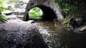 Vreemde oude brug met rivier stock video
