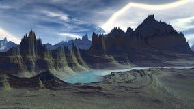 Vreemde planeet Berg en Water het 3d teruggeven royalty-vrije illustratie