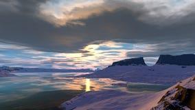 Vreemde planeet Berg en Water het 3d teruggeven Royalty-vrije Stock Fotografie