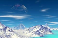Vreemde planeet Berg en Water het 3d teruggeven Stock Foto