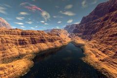 Vreemde planeet Berg en Water het 3d teruggeven Stock Fotografie