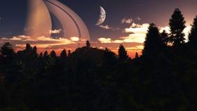 Vreemde planeet - 3d teruggegeven computerkunstwerk Stock Foto
