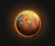 Vreemde Planeet Fictieachtergrond Conceptenart. Realistische illustratie royalty-vrije illustratie