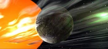 Vreemde planeet in ver een ver weg zonnestelsel Stock Fotografie