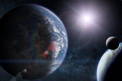 Vreemde planeten met Aarde in de kosmische ruimte Elementen van dit die beeld door NASA wordt geleverd stock illustratie