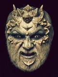 Vreemde of reptilian make-up met scherpe doornen en wratten royalty-vrije stock foto