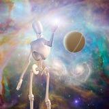 Vreemde robot en diepe ruimte royalty-vrije illustratie