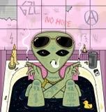 Vreemde rook, kou in bad Psychedelische vectorillustratie Stock Foto