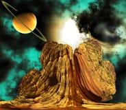 Vreemde Rots met ruimteachtergrond Stock Afbeelding