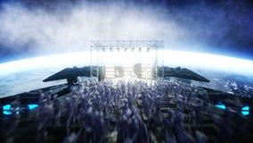 Vreemde rotspartij op ruimteschip overleg Gitaar, baarzen en trommelspel Aardeachtergrond Vreemd grappig concept Realistische 4k vector illustratie