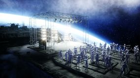 Vreemde rotspartij op ruimteschip overleg Gitaar, baarzen en trommelspel Aardeachtergrond Vreemd grappig concept Realistische 4k stock illustratie