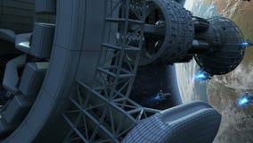 Vreemde spaceships die Aarde binnenvallen royalty-vrije illustratie