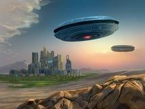 Vreemde spaceships die een stad benaderen vector illustratie