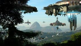 Vreemde spaceships die Rio De Janeiro binnenvallen Stock Afbeeldingen