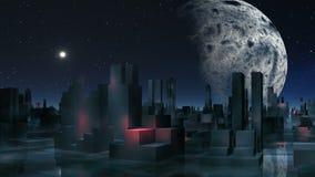 Vreemde stad en belangrijke planeet vector illustratie