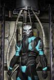Vreemde strijder in spacesuit royalty-vrije illustratie